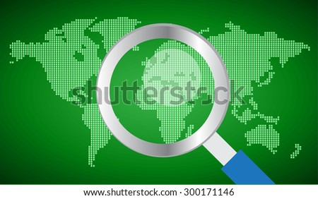 magnifying glass World map.vector - stock vector