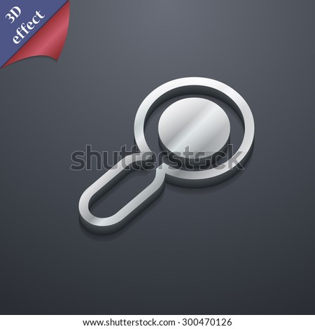 magnifying glass, zoom icon symbol. 3D style. Trendy, modern design with space for your text Vector illustration - stock vector