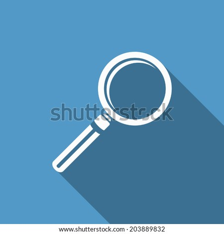 magnifying icon with long shadow - stock vector