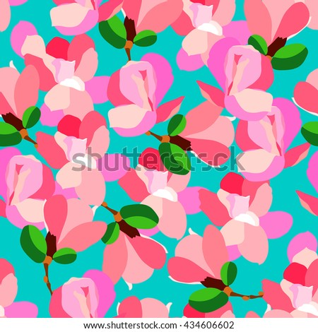Magnolia. Colorful seamless texture. - stock vector