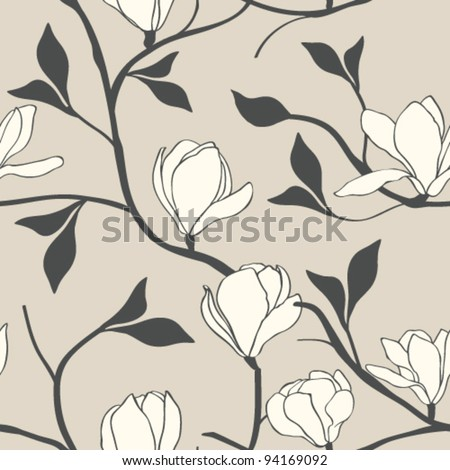 Magnolia Flower Seamless - stock vector