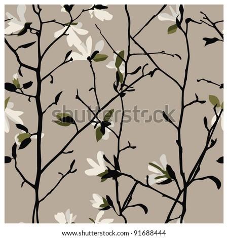 Magnolia seamless pattern - stock vector