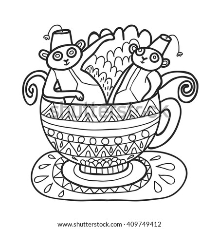 Maharaja Garden Capuchin Monkeys In Tea Cup For Coloring Adult Page