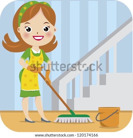 Maid Cleaning Services - stock vector