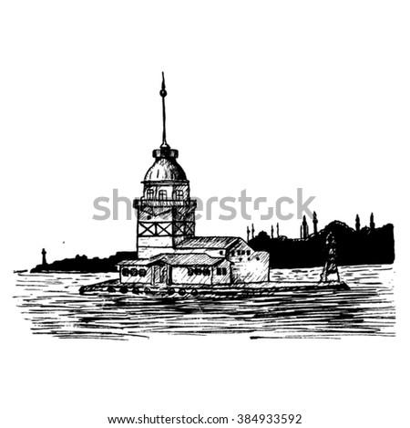 Maiden Tower sketch - stock vector