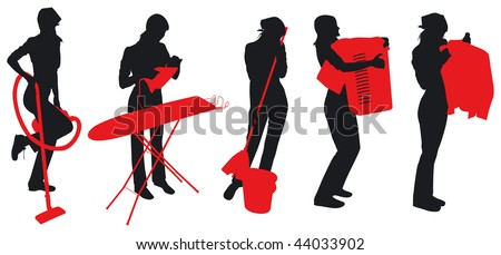Maids and housewives silhouettes - stock vector