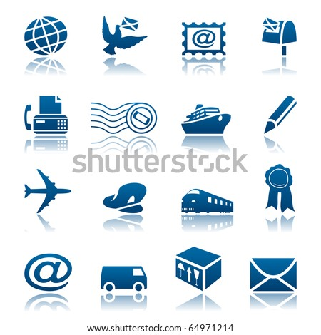 Mail and delivery icon set - stock vector