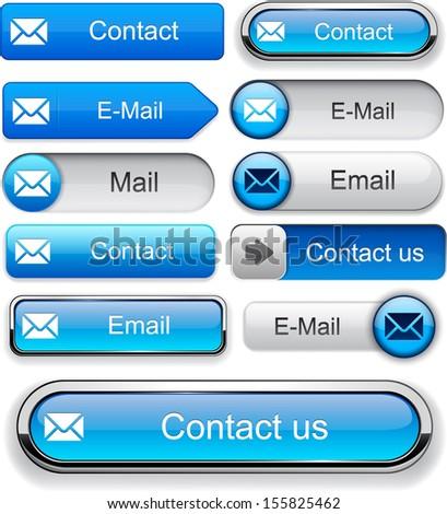 Mail blue design elements for website or app. Vector eps10.  - stock vector