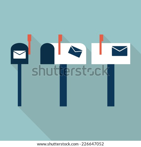 Mail box icons. Flat design. Vector illustration - stock vector