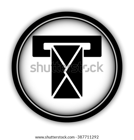 Mail box - vector icon; round  button with shadow - stock vector