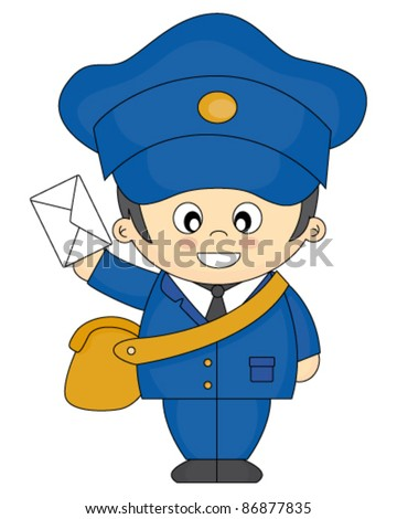 mail carrier with bag and letter vector illustration isolated on white background - stock vector
