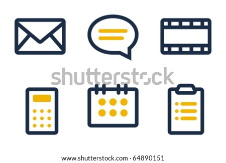 Mail, comment, media, calculator, calendar and tasks. Icons are aligned according to the pixel grid. It means that the images are prepared to use in small-sizes. It's perfect for the Web. - stock vector