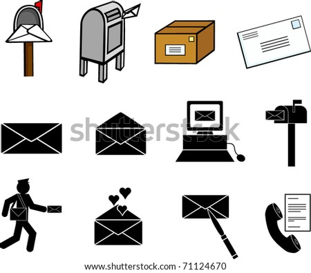 mail communications illustrations and symbols set - stock vector