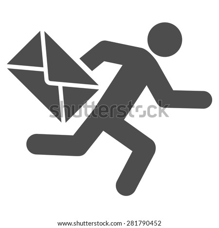 Mail courier icon from Man Poses Set. Style: monochrome gray icons, rounded corners, white background. - stock vector