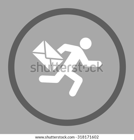 Mail courier vector icon. This rounded flat symbol is drawn with dark gray and white colors on a silver background. - stock vector