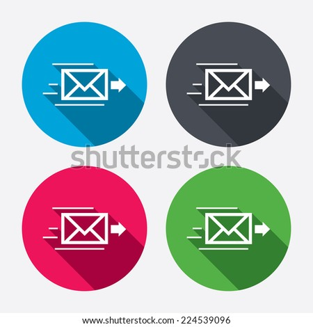 Mail delivery icon. Envelope symbol. Message sign. Mail navigation button. Circle buttons with long shadow. 4 icons set. Vector - stock vector