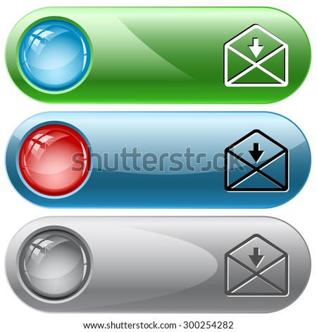 mail down arrow. Vector internet buttons. - stock vector