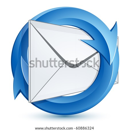 Mail envelope and blue circular arrows. E-mail marketing concept. - stock vector