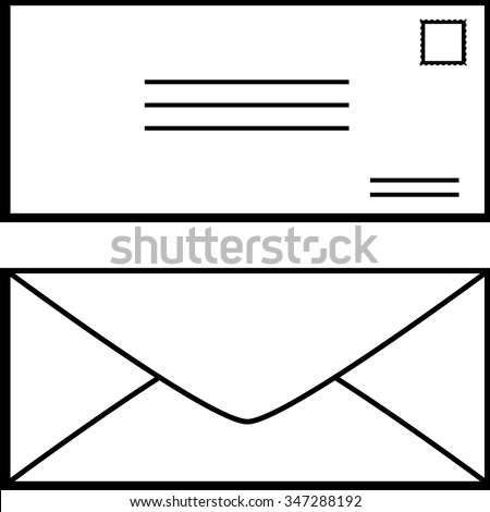 mail envelope front and rear - stock vector