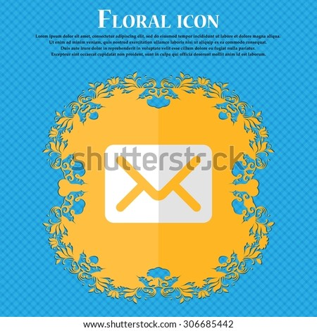 Mail, envelope, letter. Floral flat design on a blue abstract background with place for your text. Vector illustration - stock vector
