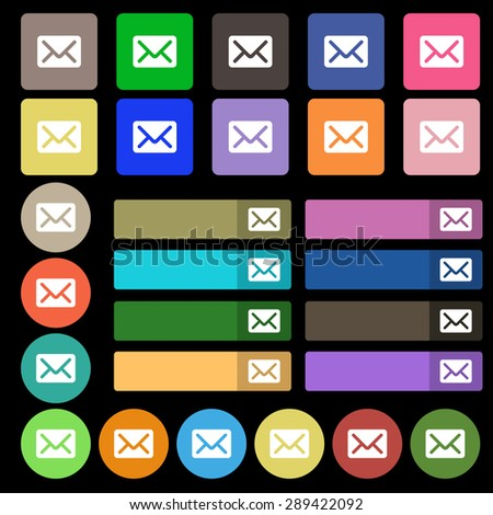 Mail, envelope, letter icon sign. Set from twenty seven multicolored flat buttons. Vector illustration - stock vector