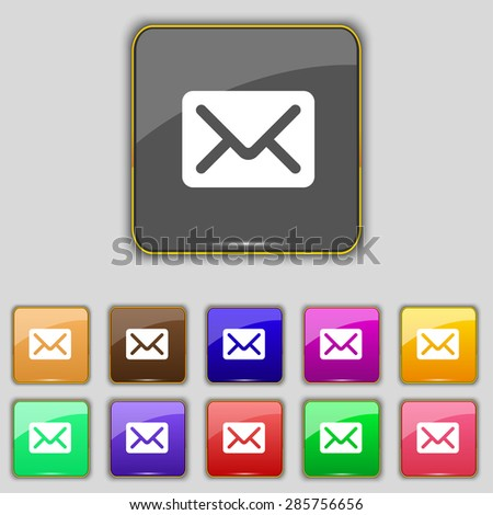 Mail, envelope, letter icon sign. Set with eleven colored buttons for your site. Vector illustration - stock vector