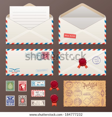 Mail Envelope, Stickers, Stamps And Postcard Vintage Style Vector