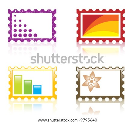 Mail fantasy stamps with reflection - stock vector