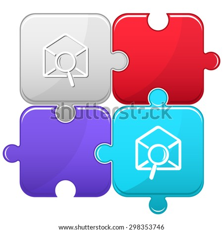 mail find. Vector puzzle. - stock vector