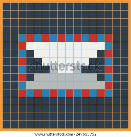 Mail Icon. Envelope for Letters Made of Squares, Pixels in the Form of Mosaics on the Colored Background.Vector illustration - stock vector