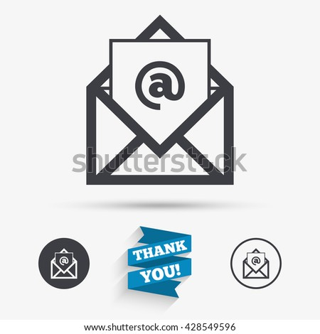 Mail icon. Envelope symbol. Message at sign. Mail navigation button. Flat icons. Buttons with icons. Thank you ribbon. Vector - stock vector