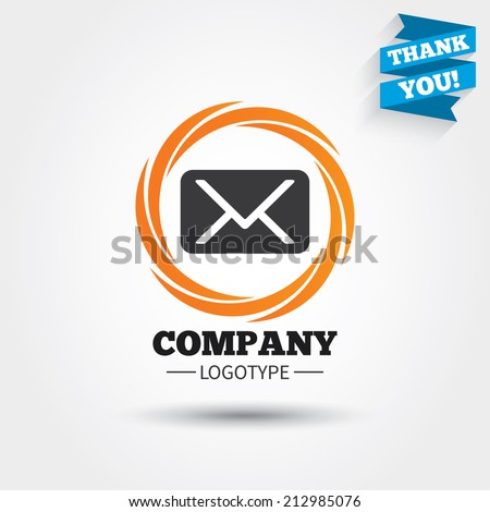 Mail icon. Envelope symbol. Message sign. Mail navigation button. Business abstract circle logo. Logotype with Thank you ribbon. Vector - stock vector