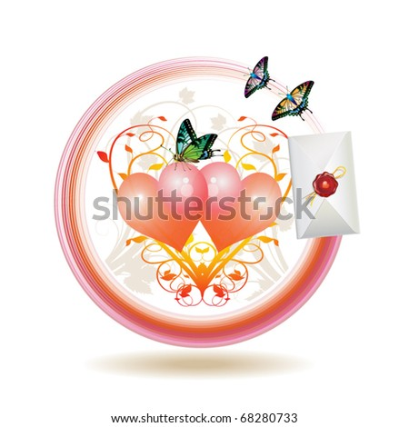 Mail icon for Valentine's day, illustration with hearts, envelope and butterflies, vector illustration - stock vector
