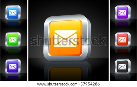 Mail Icon on 3D Button with Metallic Rim Original Illustration - stock vector
