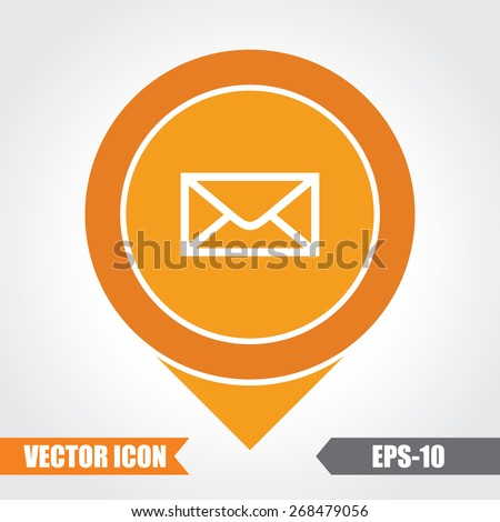 Mail Icon On Map Pointer. Eps.-10. - stock vector