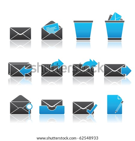 Mail icon set 23 - Blue Series.  Vector EPS 8 format, easy to edit. - stock vector