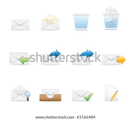 Mail icon set 23 - Glossy Series.  Vector EPS 8 format, easy to edit. - stock vector