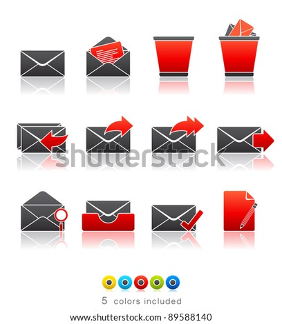 Mail icon set 23 - Multi Color Series.  Icon set in EPS 8 format with high resolution JPEG EPS file contains five color variations in different layers - stock vector