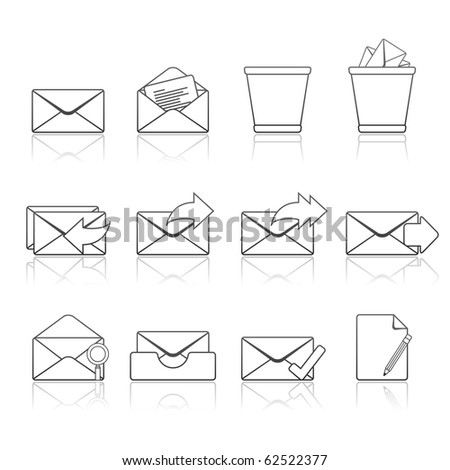 Mail icon set 23 - Strokes Series.  Vector EPS 8 format, easy to edit. - stock vector