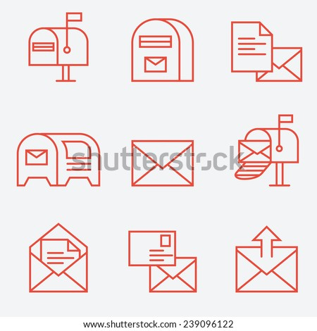 Mail icon set, thin line style, flat design - stock vector