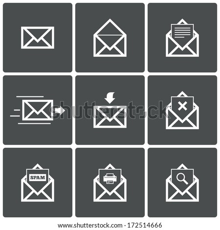 Mail icons. Mail delivery symbol. Print. Spam. Letter in envelope. Set of signs for messages. Vector illustration. - stock vector