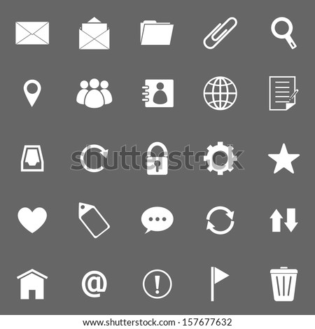 Mail icons on gray background, stock vector