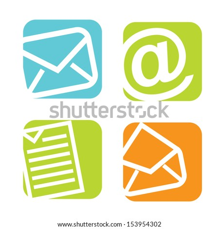 mail icons over white background vector illustration  - stock vector