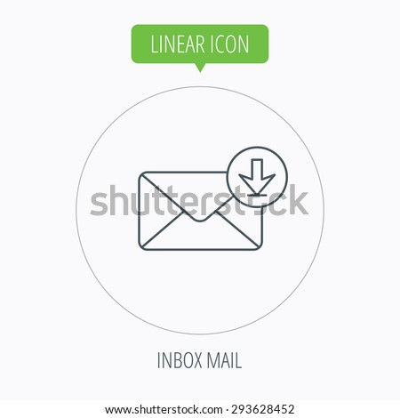 Mail inbox icon. Email message sign. Download arrow symbol. Linear outline circle button. Vector - stock vector
