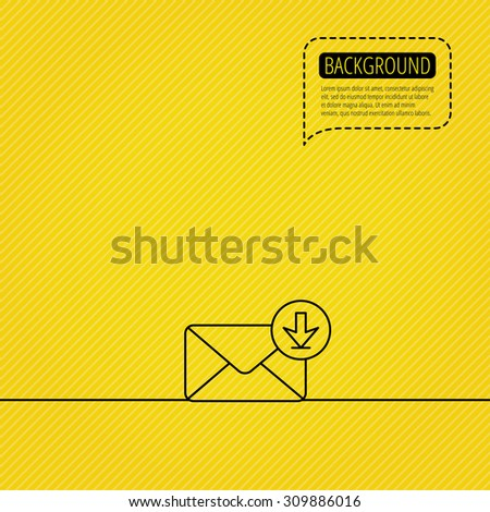 Mail inbox icon. Email message sign. Download arrow symbol. Speech bubble of dotted line. Orange background. Vector - stock vector