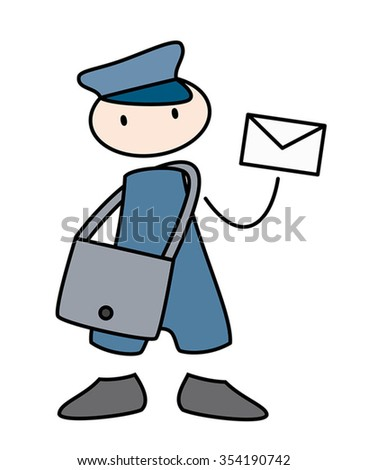 mail man delivering a letter - stock vector