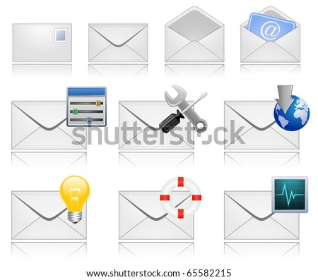 Mail Marketing Icon Set. Mail Envelopes with Reflection. - stock vector