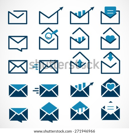 Mail, Message and Envelope Icon Set on White Background - stock vector