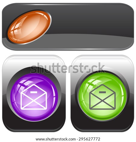 mail minus. Vector internet buttons. - stock vector