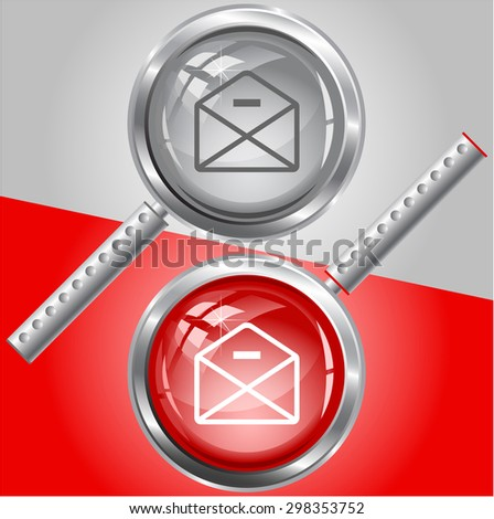 mail minus. Vector magnifying glass. - stock vector